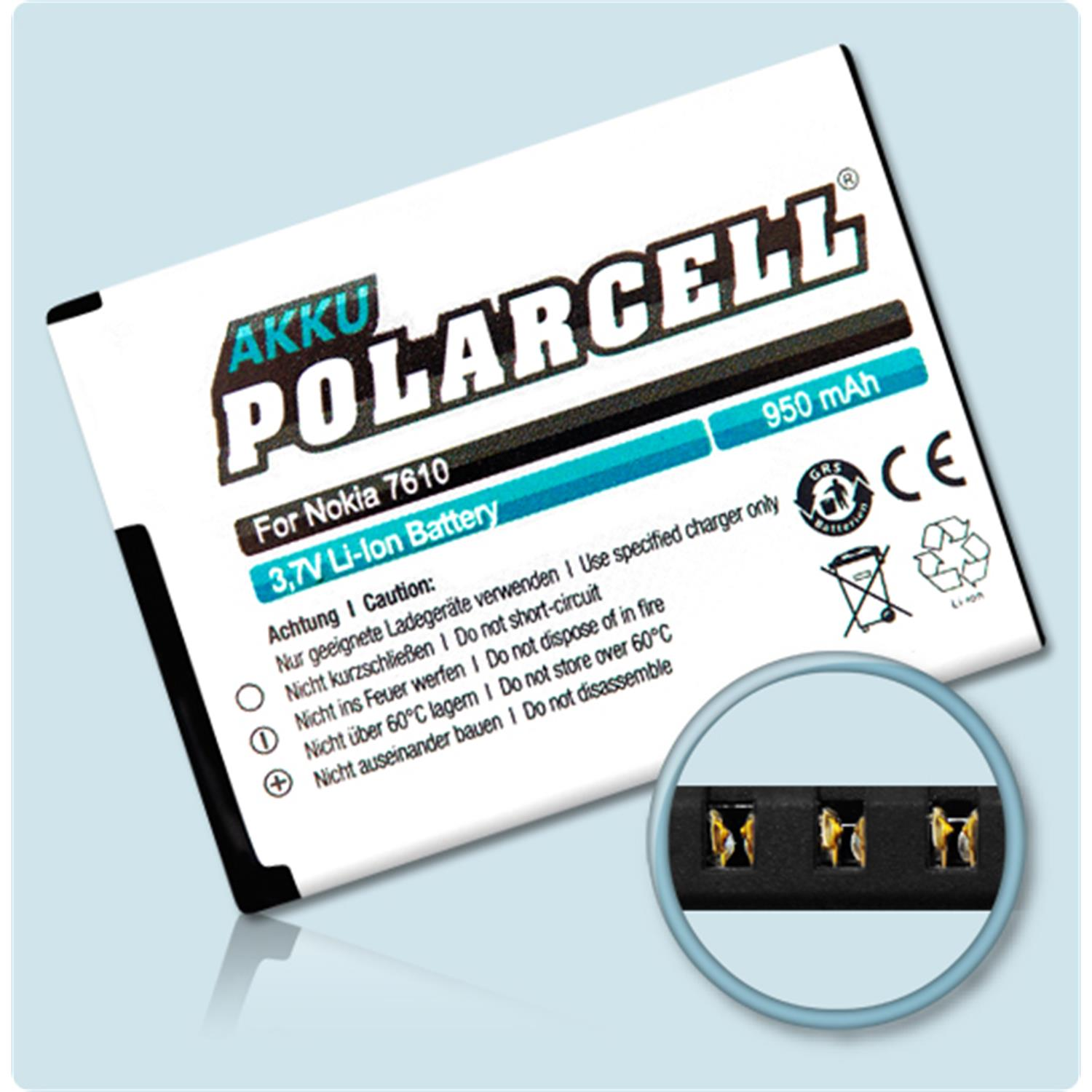 Polarcell Battery For Nokia 7610 Supernova With 950mah Buy Now