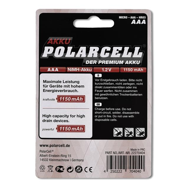 PolarCell High Power Micro | AAA | HR03 | KR03 | LR03 | R3 | L3 Ni-MH Akku [4er-Blister]