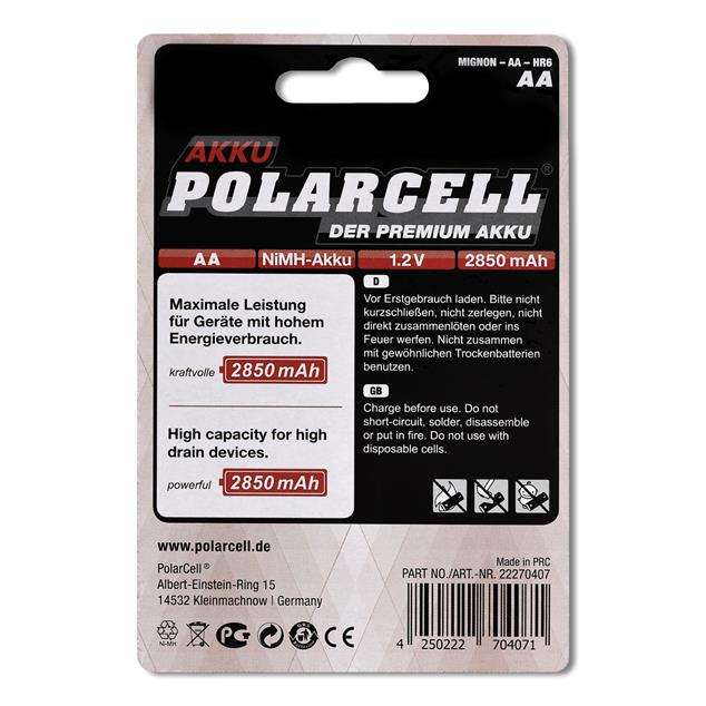 PolarCell High Power Mignon | AA | HR6 | KR6 | LR6 | R6 | L6 Ni-MH Akku [4er-Blister]