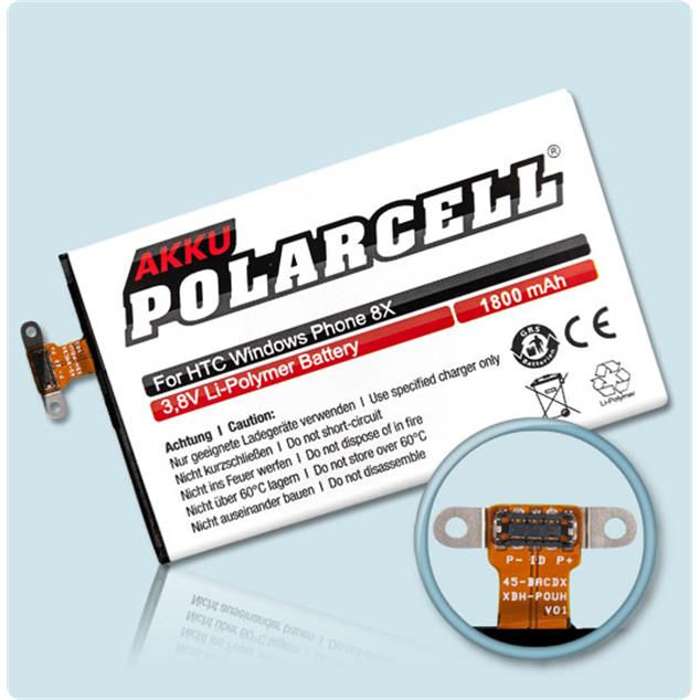 PolarCell Li-Polymer Akku für HTC Windows Phone 8X (C620e)