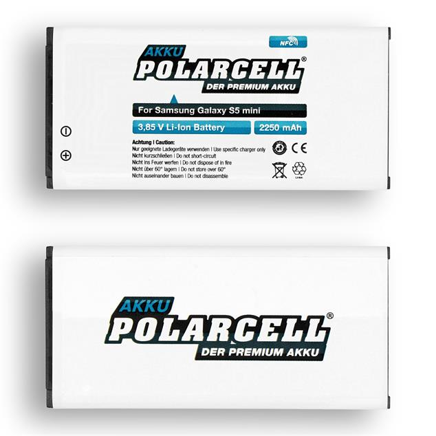PolarCell Li-Ion Akku für Samsung Galaxy S5 mini (SM-G800F) - inkl. NFC-Antenne