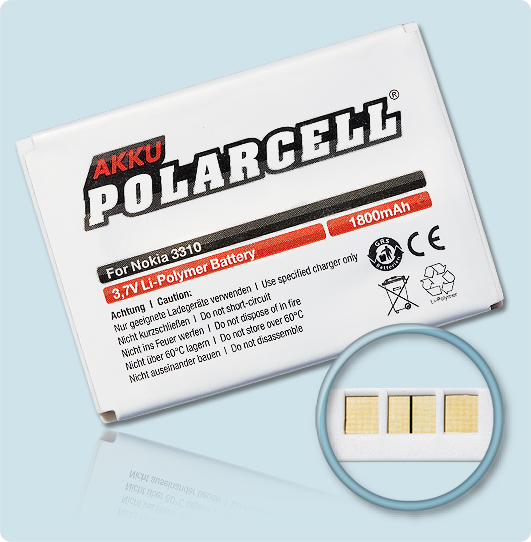 PolarCell® Hochleistungsakku für Nokia 5510, ersetzt Originalakku BLC-2 - BLC-3