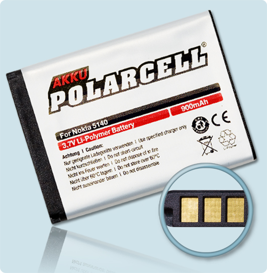 PolarCell® Hochleistungsakku für Nokia 5500, ersetzt Originalakku BL-5B