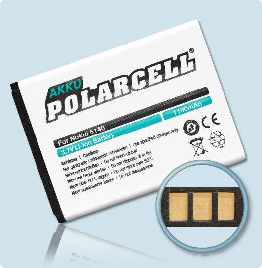 PolarCell® Hochleistungsakku für Nokia 6070, ersetzt Originalakku BL-5B
