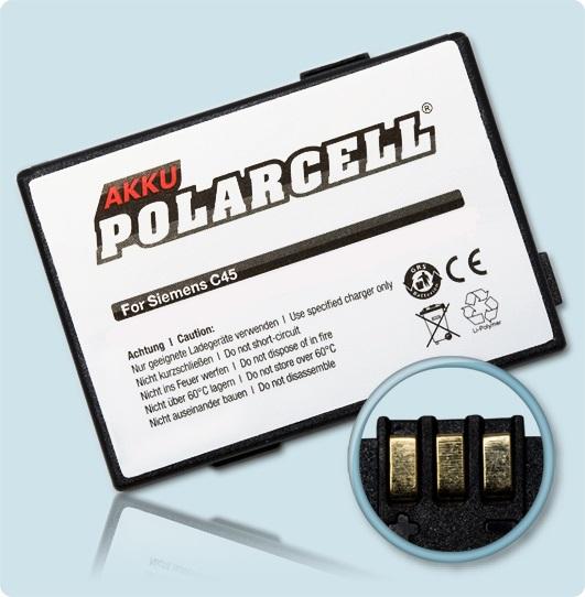 PolarCell Hochleistungs-Akku für  Siemens A50 / C45 / M46 / M50 / MT50</li><br>