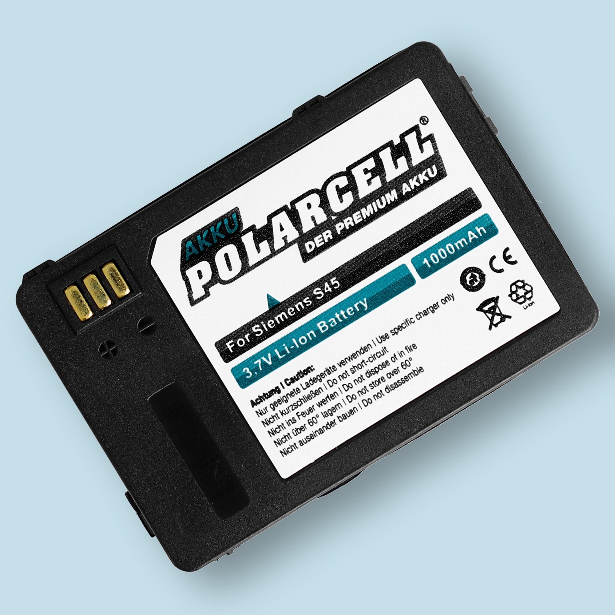 PolarCell® Hochleistungsakku für Siemens S45 / S45i, ersetzt Originalakku V30145-K1310-X183