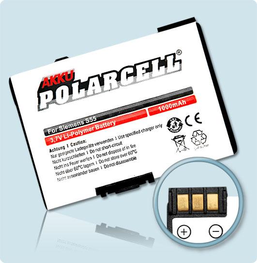PolarCell® Hochleistungsakku für Siemens A55, ersetzt Originalakku EBA-510