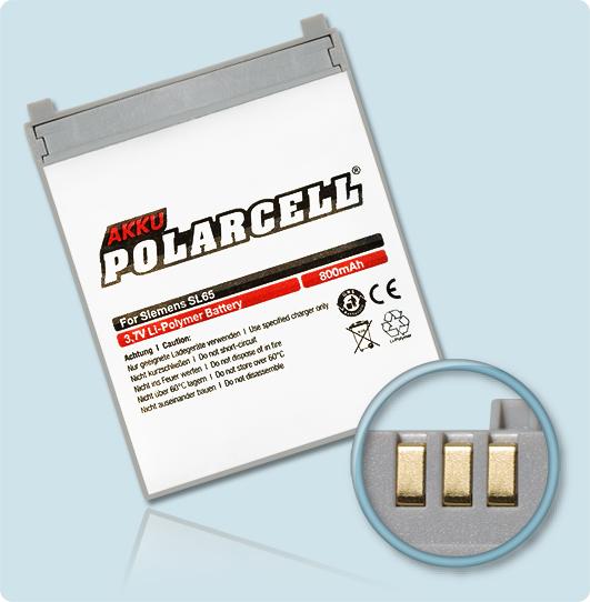 PolarCell® Hochleistungsakku für Siemens SL65, ersetzt Originalakku EBA-650, EBA-730