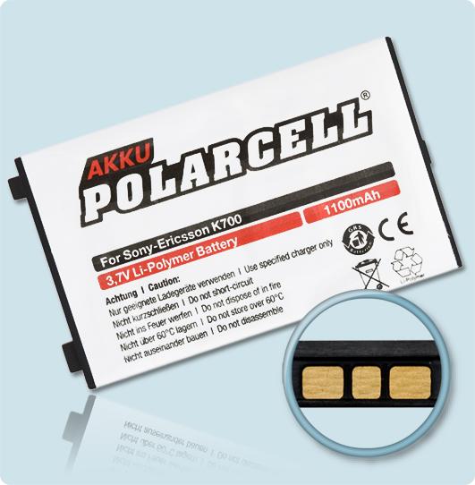 PolarCell® Hochleistungsakku für Sony-Ericsson K700i, ersetzt Originalakku BST-30, BST-35