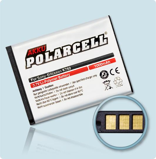 PolarCell® Hochleistungsakku für Sony-Ericsson J100i, ersetzt Originalakku BST-37