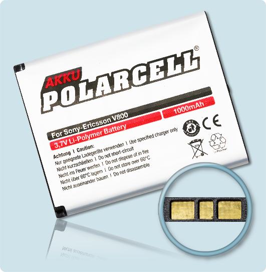 PolarCell® Hochleistungsakku für Sony-Ericsson K810i, ersetzt Originalakku BST-33, BST-40