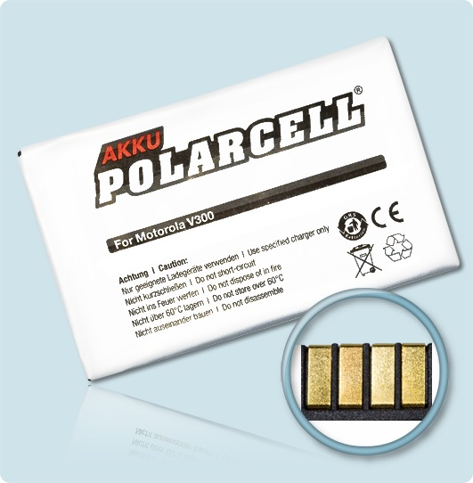 PolarCell® Hochleistungsakku für Motorola V300, ersetzt Originalakku BA600