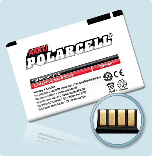 PolarCell® Hochleistungsakku für Motorola Razr V3, ersetzt Originalakku BR50