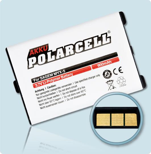 PolarCell Hochleistungs-Akku für Sagem myX-1 / myX-3 / myX-5