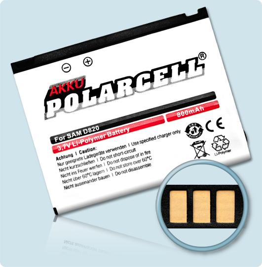 PolarCell® Hochleistungsakku für Samsung SGH-D820, ersetzt Originalakku BST4048BE