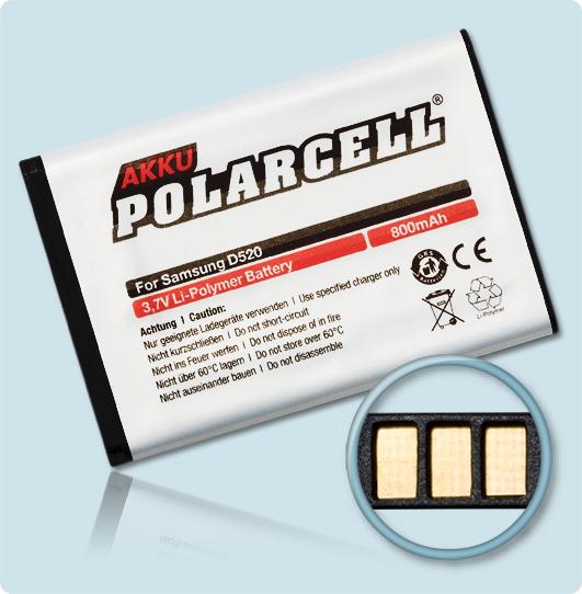 PolarCell® Hochleistungsakku für Samsung E1120, ersetzt Originalakku BST3108BE