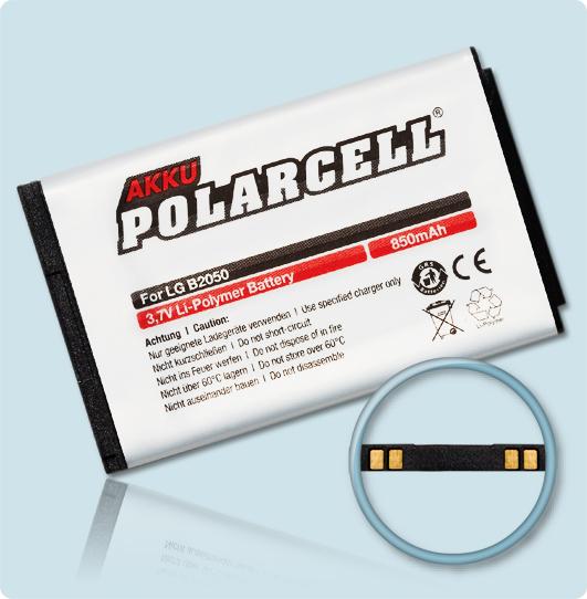 PolarCell® Hochleistungsakku für LG B2000, ersetzt Originalakku LGTL-GBIP-830