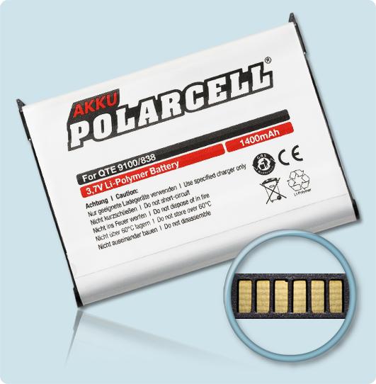 PolarCell® Hochleistungsakku für Qtek 9100, ersetzt Originalakku WIZA16