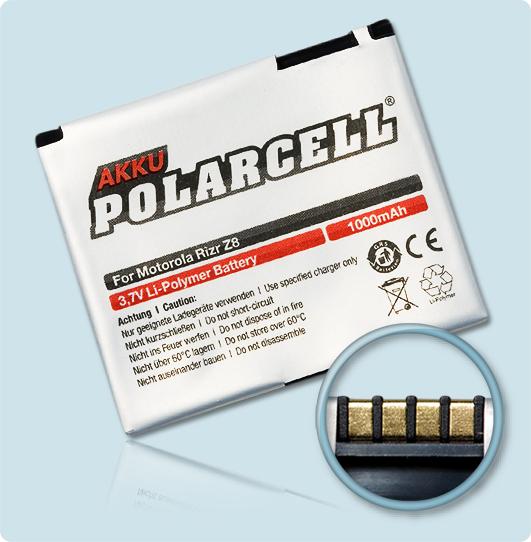 PolarCell® Hochleistungsakku für Motorola MOTORIZR Z8, ersetzt Originalakku BK70 - CFNN7010