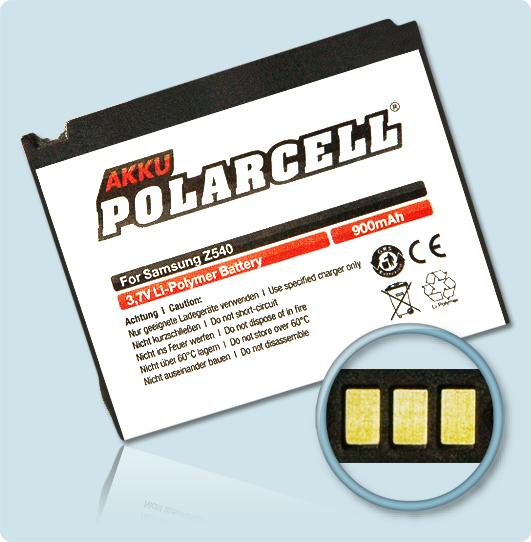 PolarCell® Hochleistungsakku für Samsung SGH-Z540, ersetzt Originalakku AB503445CE