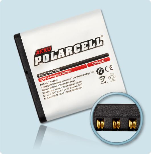 PolarCell® Hochleistungsakku für Nokia 7390, ersetzt Originalakku BP-5M