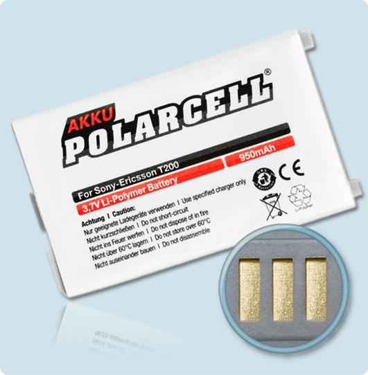 PolarCell® Hochleistungsakku für Sony-Ericsson T200, ersetzt Originalakku BST-24