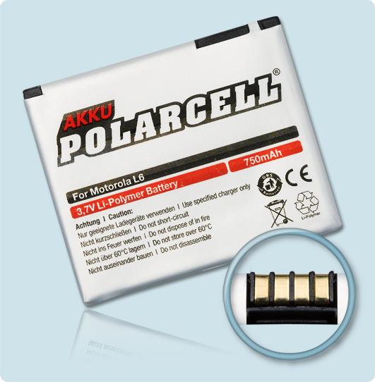 PolarCell® Hochleistungsakku für Motorola SLVR L2, ersetzt Originalakku BC50