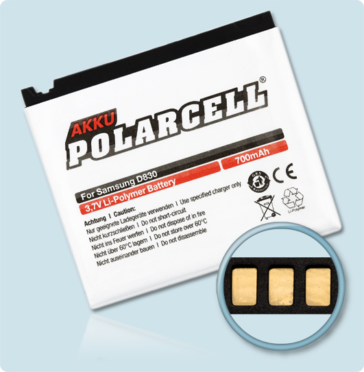 PolarCell® Hochleistungsakku für Samsung SGH-D830, ersetzt Originalakku AB394235CE - CU