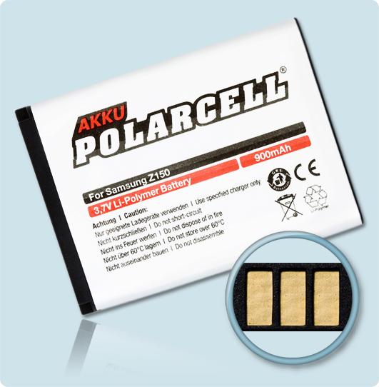 PolarCell® Hochleistungsakku für Samsung SGH-Z150, ersetzt Originalakku AB553443BE