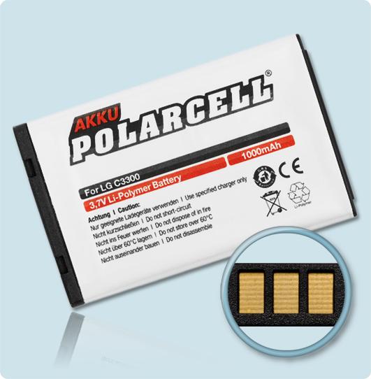 PolarCell® Hochleistungsakku für LG C3300, ersetzt Originalakku BSL-58G