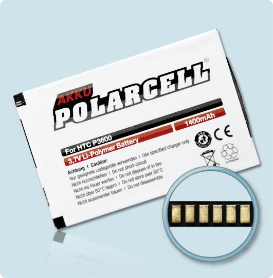PolarCell® Hochleistungsakku für HTC P3600, ersetzt Originalakku TRIN160