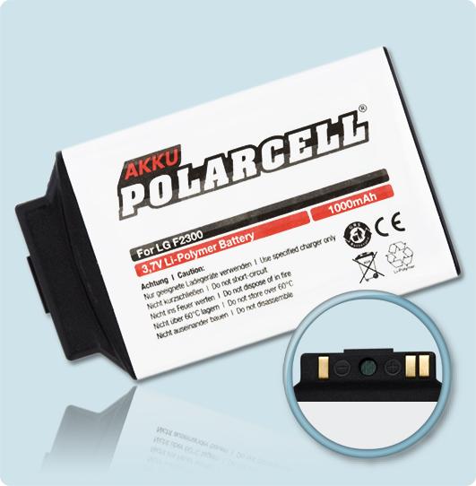 PolarCell® Hochleistungsakku für LG F2300, ersetzt Originalakku SBPL0076307