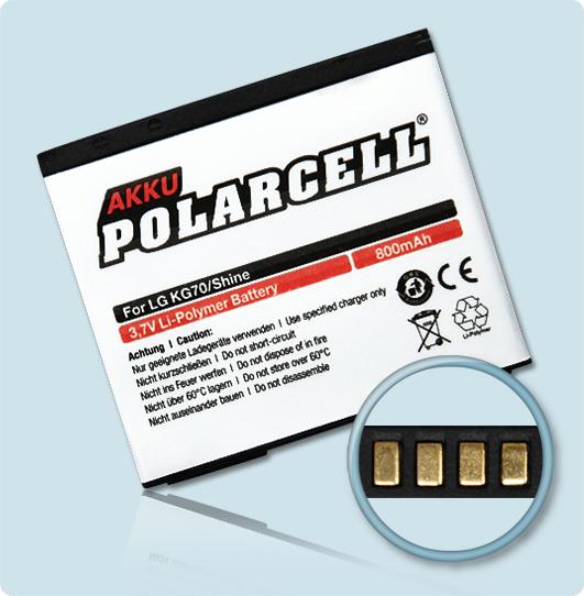 PolarCell® Hochleistungsakku für LG Venus KF600, ersetzt Originalakku LGIP-470A