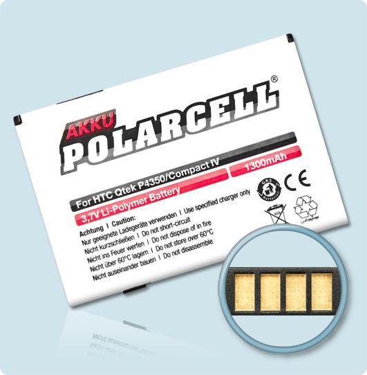 PolarCell® Hochleistungsakku für HTC P4350, ersetzt Originalakku HERA160