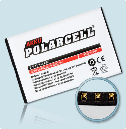 PolarCell® Hochleistungsakku für Nokia 6650, ersetzt Originalakku BP-4L - BP-4C