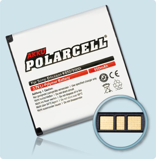 PolarCell® Hochleistungsakku für Sony-Ericsson Z770i, ersetzt Originalakku BST-38