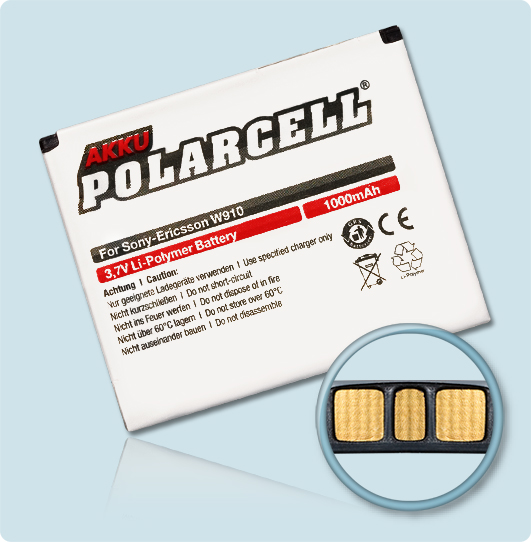 PolarCell® Hochleistungsakku für Sony-Ericsson W508, ersetzt Originalakku BST-39