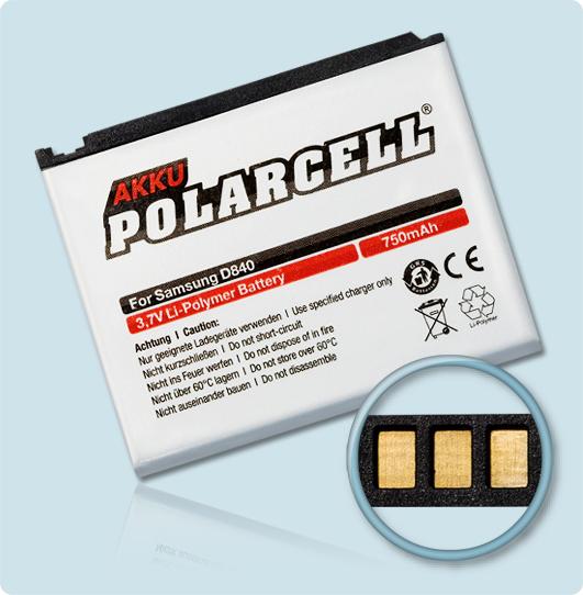 PolarCell® Hochleistungsakku für Samsung SGH-D840, ersetzt Originalakku AB394635CE