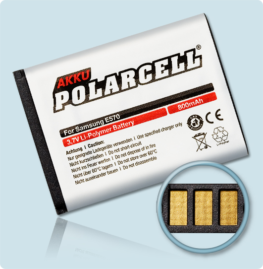 PolarCell® Hochleistungsakku für Samsung J700, ersetzt Originalakku AB503442BE