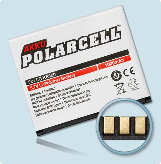 PolarCell® Hochleistungsakku für LG KE820, ersetzt Originalakku LGIP-A750