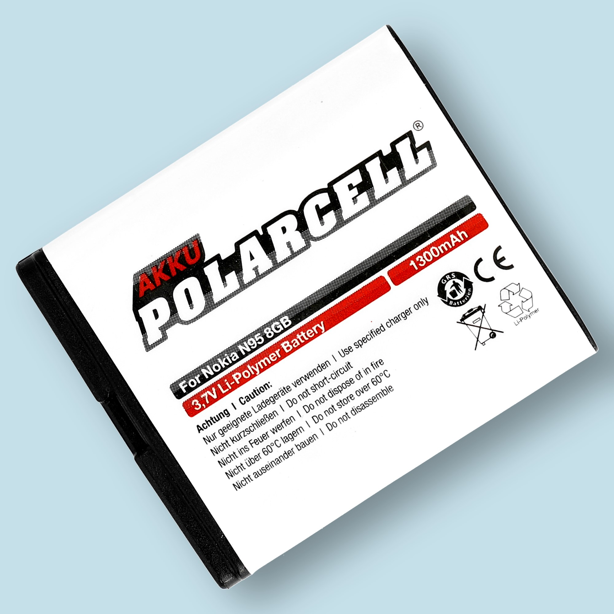 PolarCell® Hochleistungsakku für Nokia N95 8GB, ersetzt Originalakku BL-6F