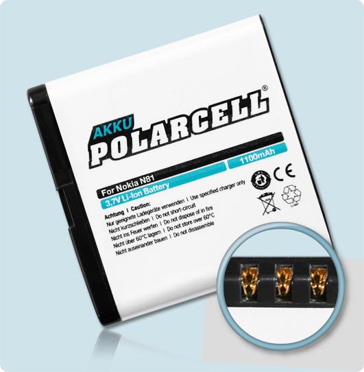 PolarCell® Hochleistungsakku für Nokia N81, ersetzt Originalakku BP-6MT