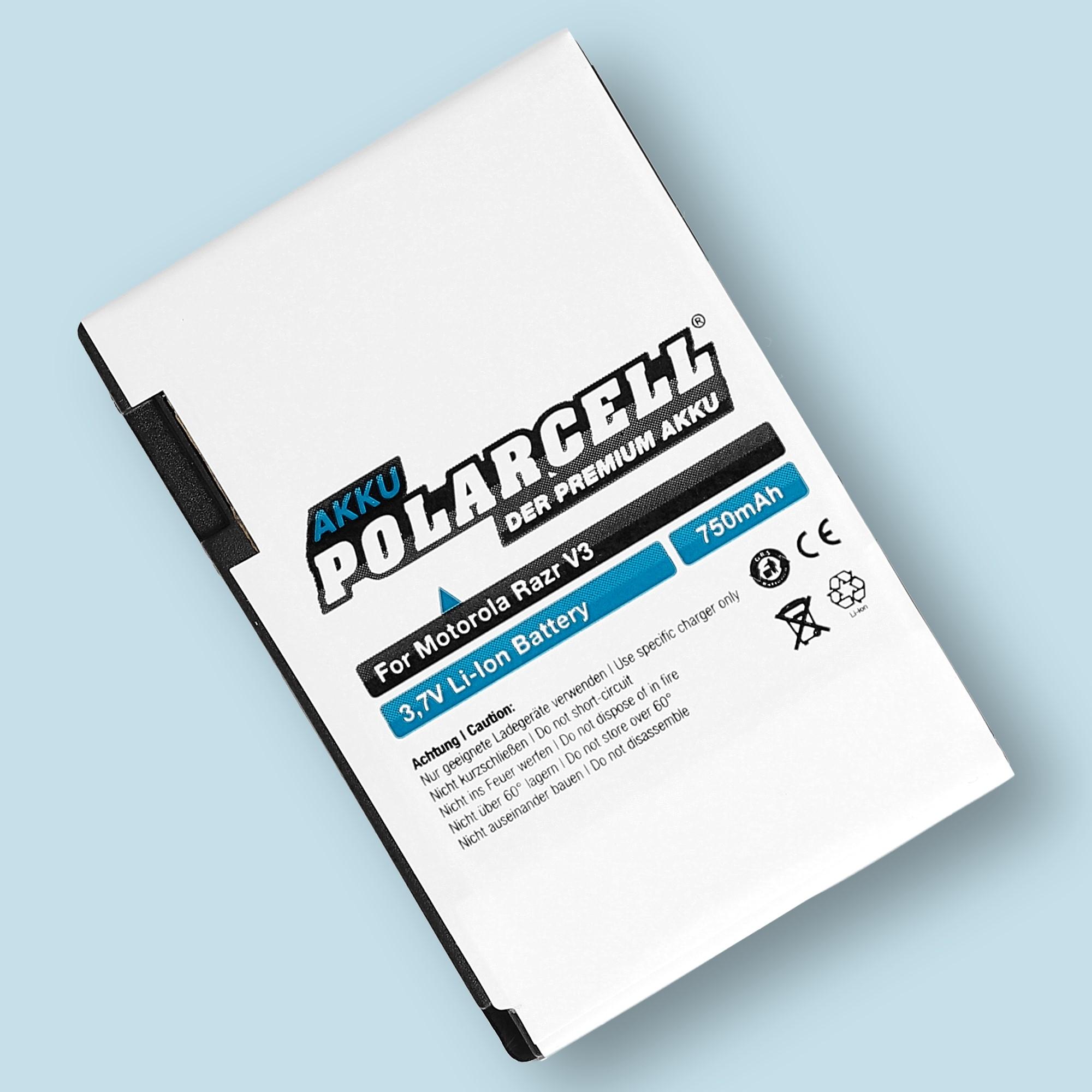 PolarCell® Hochleistungsakku für Motorola Razr V3i, ersetzt Originalakku BR50