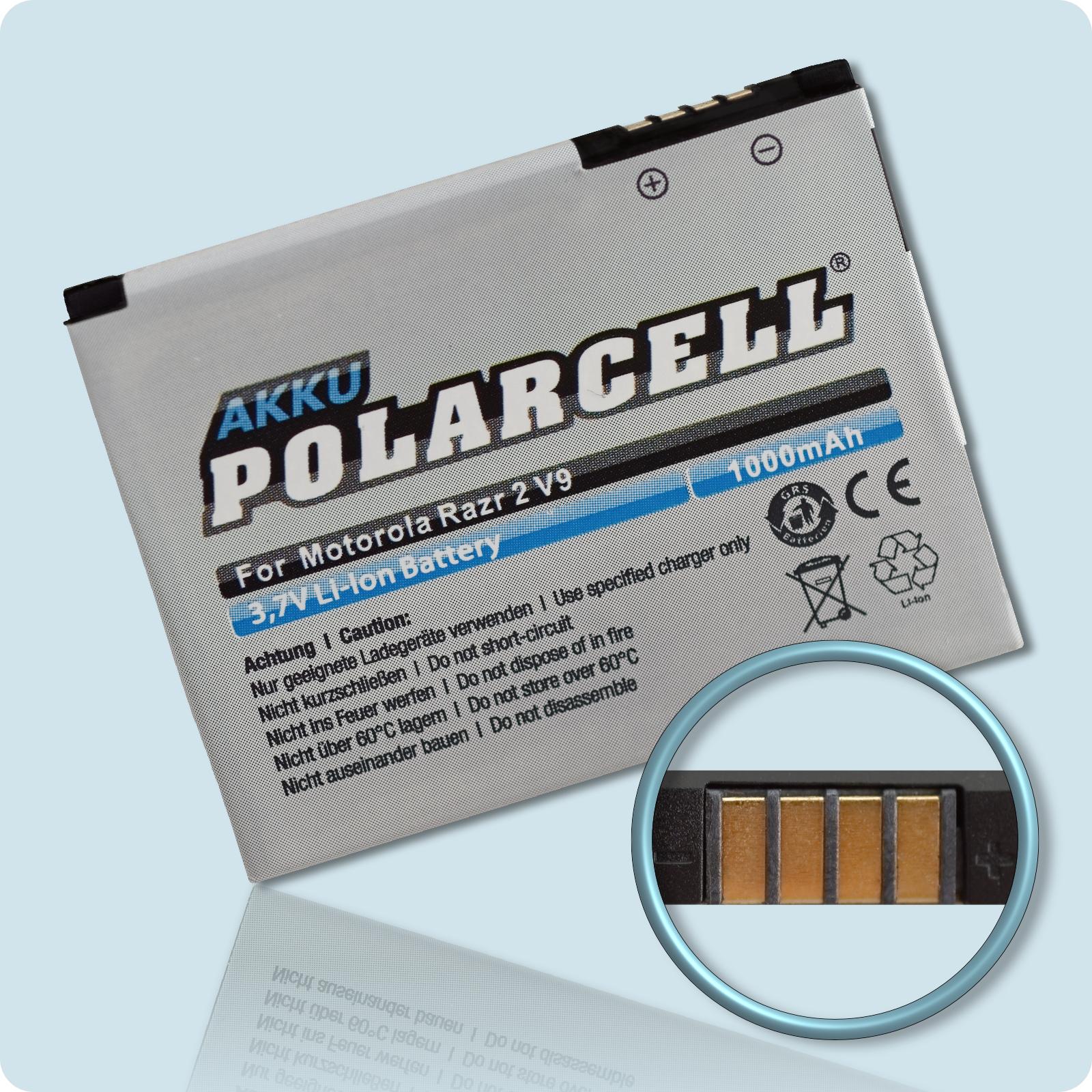 PolarCell® Hochleistungsakku für Motorola Razr2 V9, ersetzt Originalakku BX50