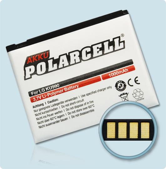 PolarCell® Hochleistungsakku für LG Viewty KU990, ersetzt Originalakku LGIP-580A