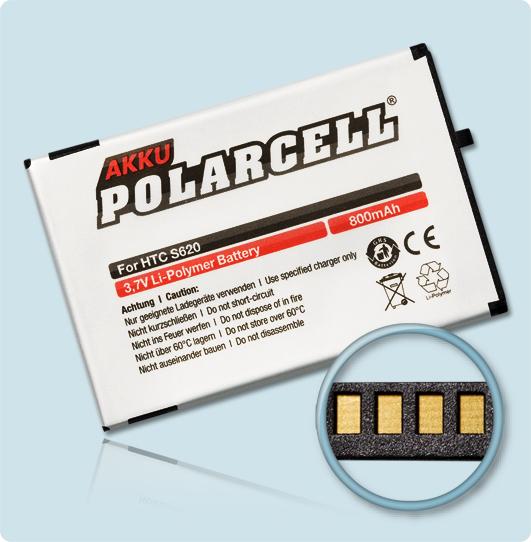PolarCell® Hochleistungsakku für HTC S620, ersetzt Originalakku EXCA160