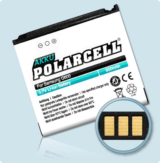 PolarCell® Hochleistungsakku für Samsung SGH-G600, ersetzt Originalakku AB533640AE