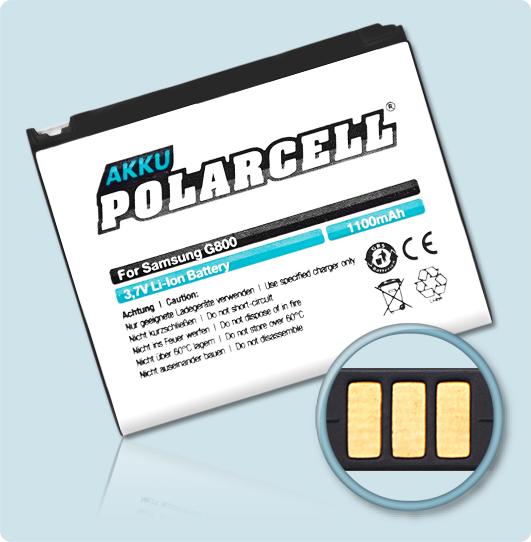 PolarCell® Hochleistungsakku für Samsung SGH-G800, ersetzt Originalakku AB603443CE - CU