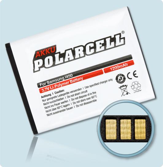 PolarCell® Hochleistungsakku für Samsung SGH-i450, ersetzt Originalakku AB494051BE