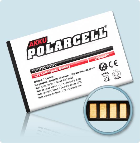 PolarCell® Hochleistungsakku für HTC P3470, ersetzt Originalakku PHAR160